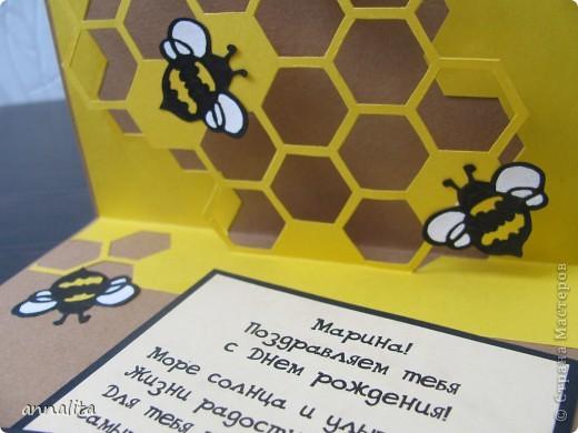 Вот такая пчелиная открыточка у меня сотворилась на днях.  Внутренняя часть - любимая мною техника pop-up. фото 7