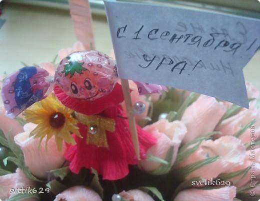 Вот очередное мое творение ) Бело-розовые бутоны конфеты Марсианка кокосовый пудинг кот 67 шт. фото 4