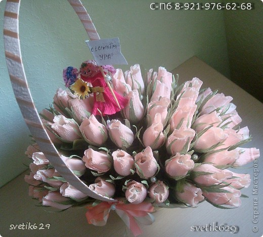 Вот очередное мое творение ) Бело-розовые бутоны конфеты Марсианка кокосовый пудинг кот 67 шт. фото 3