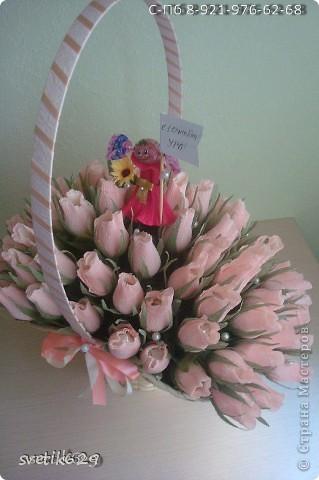 Вот очередное мое творение ) Бело-розовые бутоны конфеты Марсианка кокосовый пудинг кот 67 шт. фото 2