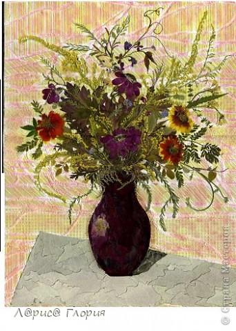Картина с технике плоскостная флористика (японцы называют - ошибана, осибана). Все нарисовано цветами, листьями. Цвета природные без красок. Бабочки - перья птиц.  фото 3
