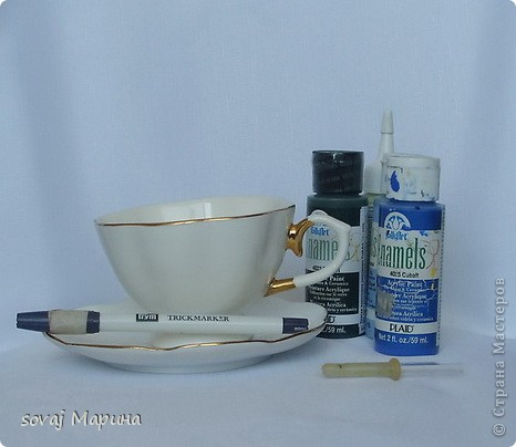 Мастер-класс Роспись Мк роспись чайной пары Незабудки Краска фото 2