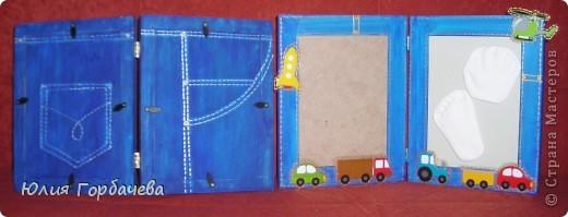 Декор предметов Поделка изделие Рама паспарту Аппликация Роспись 4 джинсовых рамки Ткань фото 2