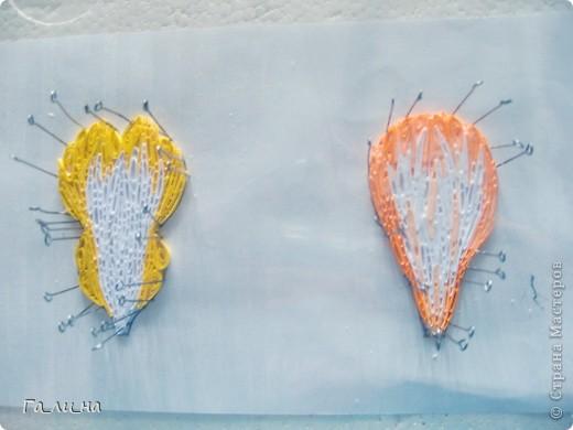 Картина панно рисунок Бумагопластика Квиллинг Ирисы Бумага гофрированная Бумажные полосы фото 15.