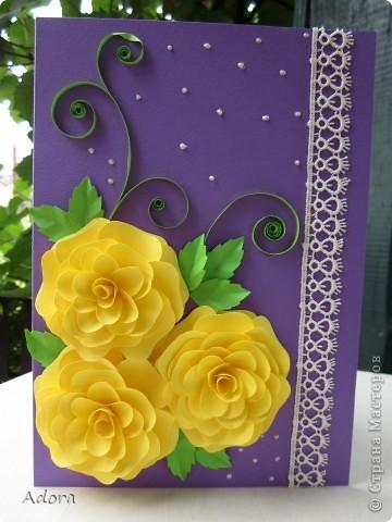 Объемная открытка своими руками с розами из