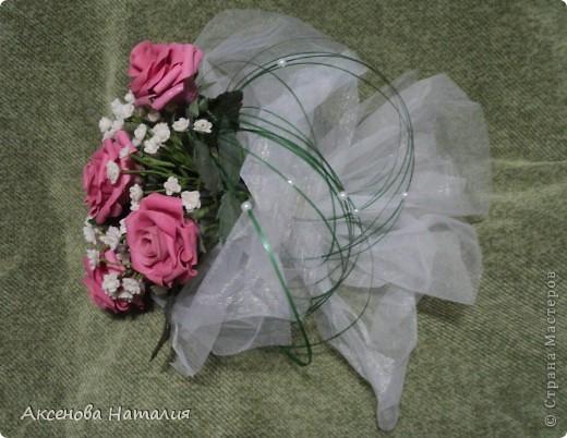 Недавно моя дочь вышла замуж. Ее свадебный букет мне очень понравился и я решила сделать что-то подобное. Ну, а что получилось выставляю на ваш суд. фото 1