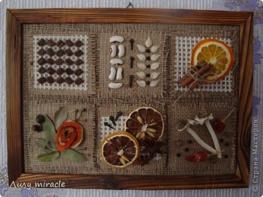 Картина панно рисунок Аппликация Панно для кухни Ароматное Канва Картон Материал природный Продукты пищевые Семена фото 1