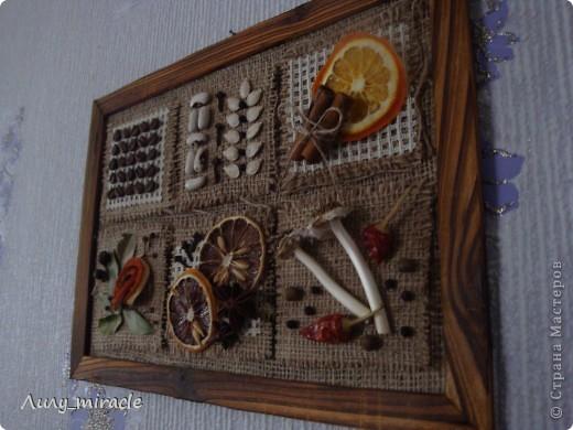 Картина панно рисунок Аппликация Панно для кухни Ароматное Канва Картон Материал природный Продукты пищевые Семена фото 9