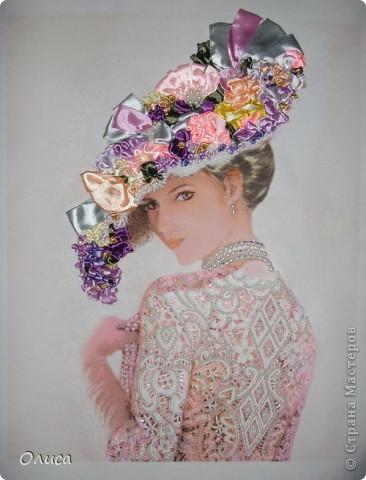 Вышивка бисером дама в шляпе