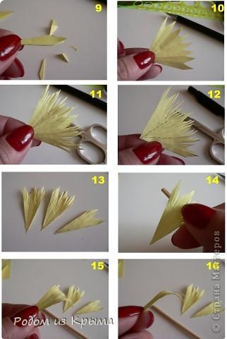 Мастер-класс Квиллинг МК хризантем по-новому Бумага Бумажные полосы Клей фото 4