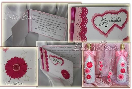 Набор с герберками. Невеста попросила сделать набор и пригласительные с герберами в унисон с букетом, изображенным на фото (ниже). фото 7