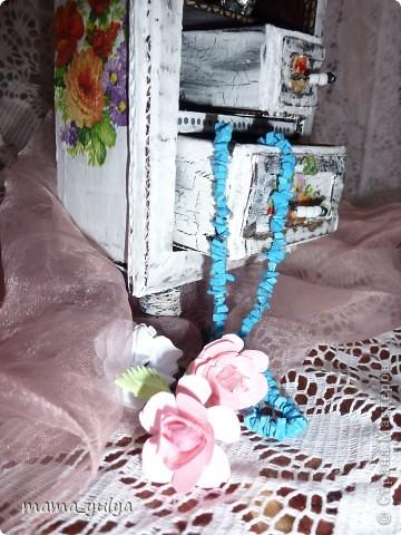 Поделка изделие Макет модель Декупаж Шкафчик для украшений Бисер Бумага Картон гофрированный Клей Краска Проволока...