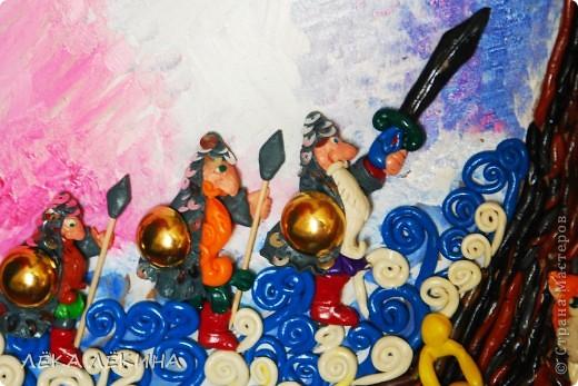 """В продолжение пластилиновой темы (начало тут https://stranamasterov.ru/node/418554) панно...еще 2 вариации на тему для детского садика. Первая """"У Лукоморья"""" по всем известным стихам А.С.Пушкина  У лукоморья дуб зелёный; Златая цепь на дубе том:  фото 6"""