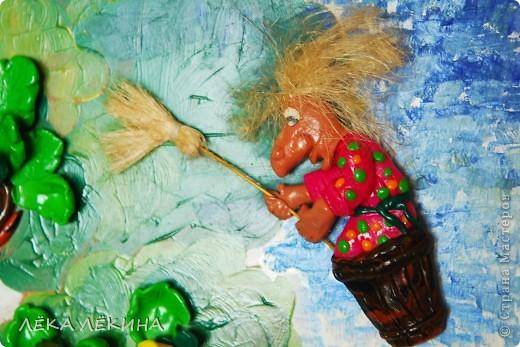 """В продолжение пластилиновой темы (начало тут https://stranamasterov.ru/node/418554) панно...еще 2 вариации на тему для детского садика. Первая """"У Лукоморья"""" по всем известным стихам А.С.Пушкина  У лукоморья дуб зелёный; Златая цепь на дубе том:  фото 5"""