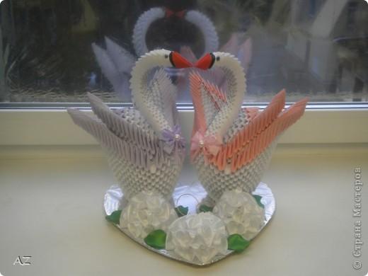 свадебные лебеди: по МК iv.olga идея подставки и оформления - сайт Галины Тиховой цветы сделаны по МК Аннэт Пономарёвой фото 2