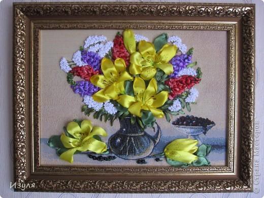 """гобелен назывался """"Желтый букет"""" Вот такой у меня получился букет с желтыми лилиями. фото 2"""