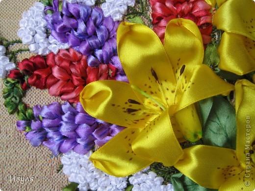"""гобелен назывался """"Желтый букет"""" Вот такой у меня получился букет с желтыми лилиями. фото 3"""