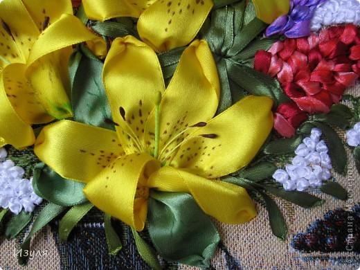 """гобелен назывался """"Желтый букет"""" Вот такой у меня получился букет с желтыми лилиями. фото 4"""