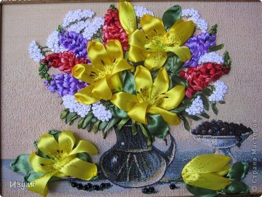 """гобелен назывался """"Желтый букет"""" Вот такой у меня получился букет с желтыми лилиями. фото 1"""