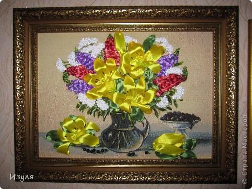 """гобелен назывался """"Желтый букет"""" Вот такой у меня получился букет с желтыми лилиями. фото 5"""