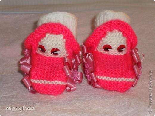 Вязание спицами - пинетки