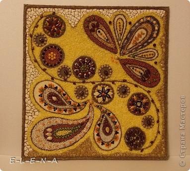 Картина панно рисунок Кухонное панно Крупа Семена Скорлупа яичная Шпагат фото 2