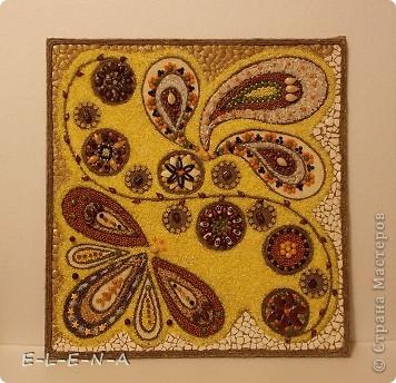 Картина панно рисунок Кухонное панно Крупа Семена Скорлупа яичная Шпагат фото 4