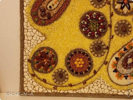 Картина панно рисунок Кухонное панно Крупа Семена Скорлупа яичная Шпагат фото 11