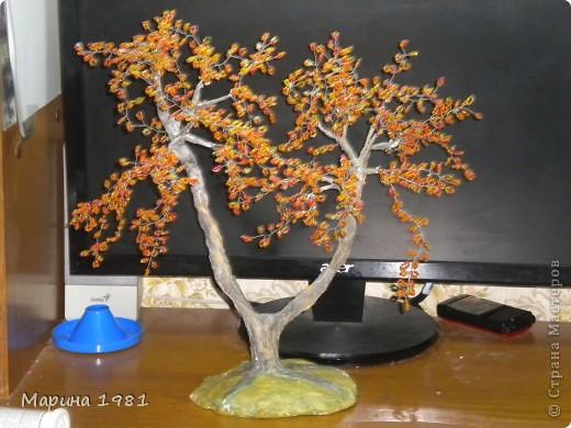 Поделка изделие Бисероплетение Осеннее дерево Бисер фото 2.