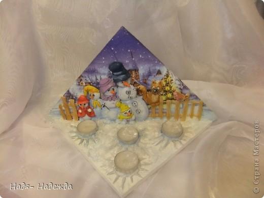 """Приветствую вас, дорогие гости, я начала готовиться к Новогодним праздникам, вот посмотрите подсвечники назвала его """"Хор снеговиков"""".... фото 2"""