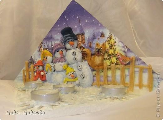 """Приветствую вас, дорогие гости, я начала готовиться к Новогодним праздникам, вот посмотрите подсвечники назвала его """"Хор снеговиков"""".... фото 1"""