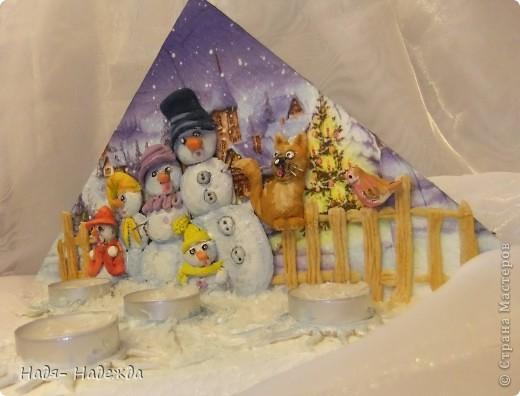 """Приветствую вас, дорогие гости, я начала готовиться к Новогодним праздникам, вот посмотрите подсвечники назвала его """"Хор снеговиков"""".... фото 3"""