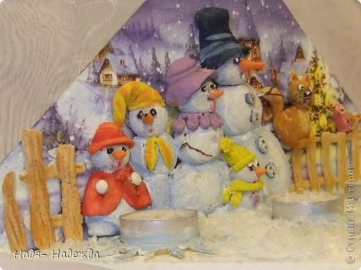 """Приветствую вас, дорогие гости, я начала готовиться к Новогодним праздникам, вот посмотрите подсвечники назвала его """"Хор снеговиков"""".... фото 4"""