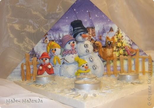 """Приветствую вас, дорогие гости, я начала готовиться к Новогодним праздникам, вот посмотрите подсвечники назвала его """"Хор снеговиков"""".... фото 5"""