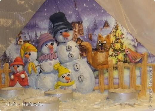 """Приветствую вас, дорогие гости, я начала готовиться к Новогодним праздникам, вот посмотрите подсвечники назвала его """"Хор снеговиков"""".... фото 6"""