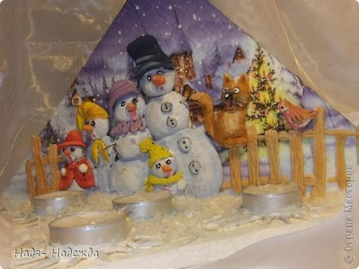 """Приветствую вас, дорогие гости, я начала готовиться к Новогодним праздникам, вот посмотрите подсвечники назвала его """"Хор снеговиков"""".... фото 7"""