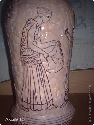 Декор предметов Декупаж Роспись Греческие сцены Бутылки стеклянные Скорлупа яичная фото 6