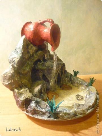 Поделка изделие Моделирование конструирование И у меня теперь есть водопадик Бумага Клей Краска Пенопласт фото 2