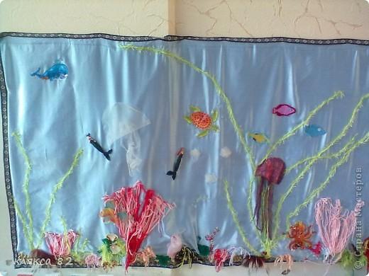 вот такой получился аквариум из различного материала в группу моей дочечки, р-р 100х200 см фото 2
