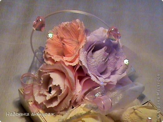"""Здраствуйте, соседи! Хочу вам показать мои последние конфетные украшалочки. Это коробочка в нежных тонах - """"Признание в любви"""" фото 2"""