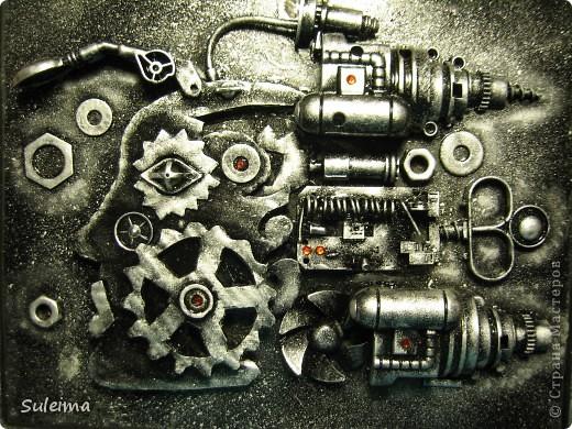 Картина панно рисунок Аппликация Стимпанк или биомеханика Картон гофрированный Материал бросовый фото 1