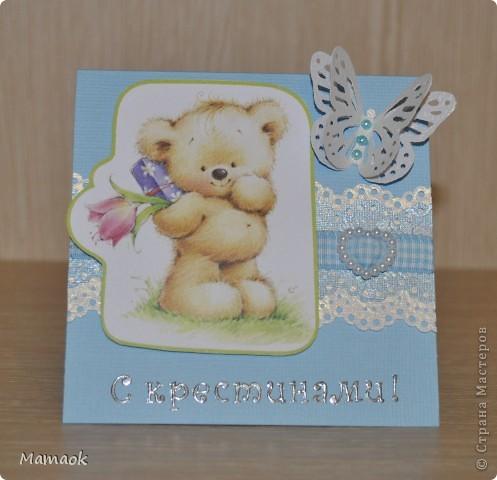 Коллега попросила сделать открыточку по случаю крестин маленького внука, получилась вот такая открыточка-малышка 10*10см  фото 1