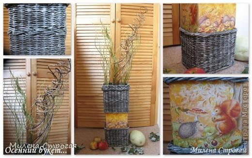 """Добрый день, мастера и мастерицы! В рамках ежегодной выставки """"Осенний букет"""" сделалась такая напольная ваза с ивовой лозой... фото 6"""