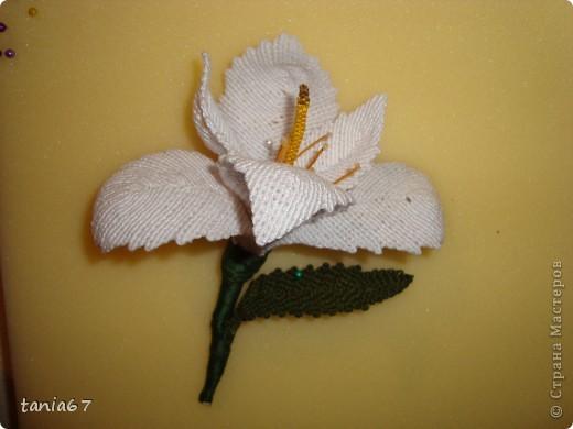 Эту лилию я сделала для панно. Для работы взяла нити : ирис №5 фото 7