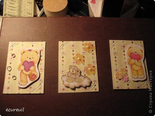 Первые карточки АТС  с мишками не гамми! Хочу, наверно, поменяться... Извиняюсь за качество, только закончила...темно фото 1