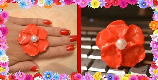 """Кольцо """"Цветок"""". Пластика. фото 1"""