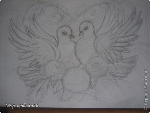 """Всем привет!!!!Вот такие влюбленные голуби у меня получились.Слепила их давно ,вместе с предыдущей работой,все никак не могла раскрасить.И вот наконец руки """"дошли""""(спасибо дождливой погоде))))! фото 8"""