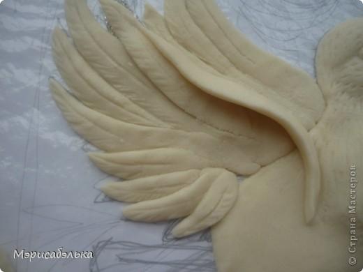 """Всем привет!!!!Вот такие влюбленные голуби у меня получились.Слепила их давно ,вместе с предыдущей работой,все никак не могла раскрасить.И вот наконец руки """"дошли""""(спасибо дождливой погоде))))! фото 15"""
