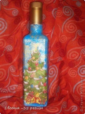 Новогодняя бутылка. Прямой и обратный декупаж. фото 2