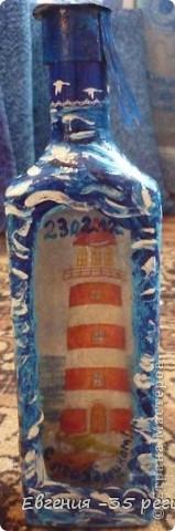 Новогодняя бутылка. Прямой и обратный декупаж. фото 9